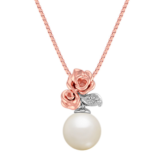 Rose 8mm Cultured Freshwater Pearl and Diamond Pendant in Rose Gold