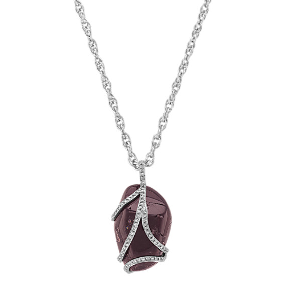 Rough Ruby and Round Diamond Pendant (18)