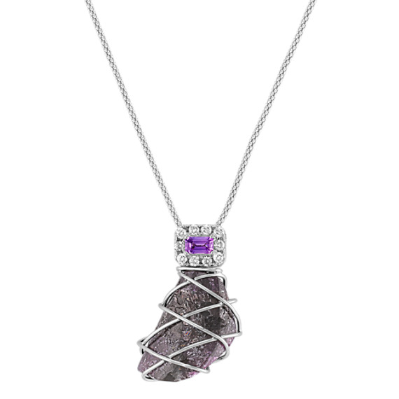 "Rough Ruby, Emerald Cut Lavender Sapphire, and Round Diamond Pendant (18"")"