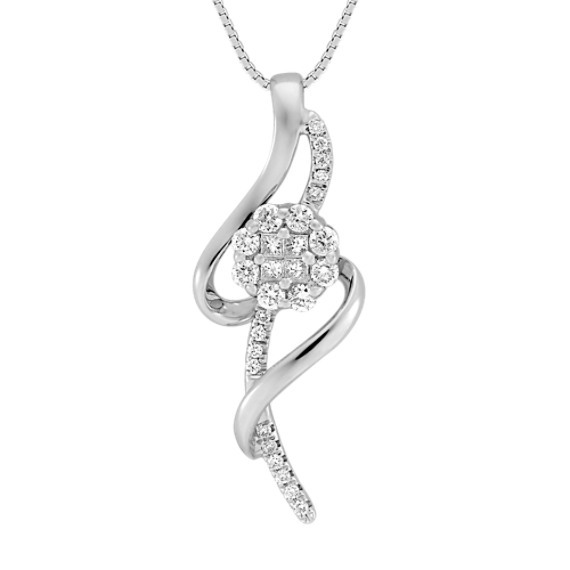 "Round and Princess Cut Diamond Pendant (18"")"