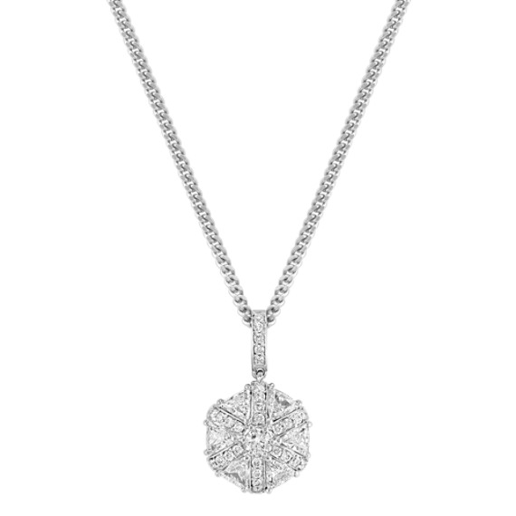 "Round and Trillion Diamond Pendant (18"")"