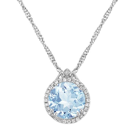 "Round Aquamarine and Round Diamond Pendant (20"")"