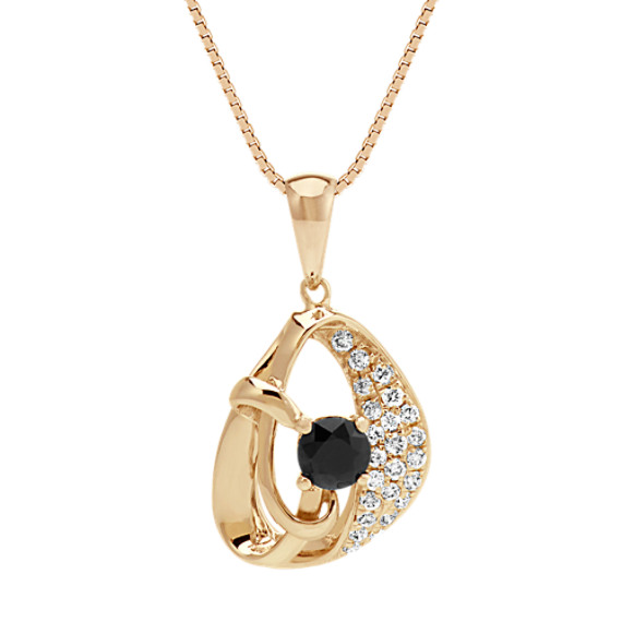 "Round Black Sapphire and Diamond Pendant in 14k Yellow Gold (18"")"