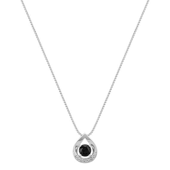 """Round Black Sapphire and Round Diamond Teardrop Pendant (18"""")"""