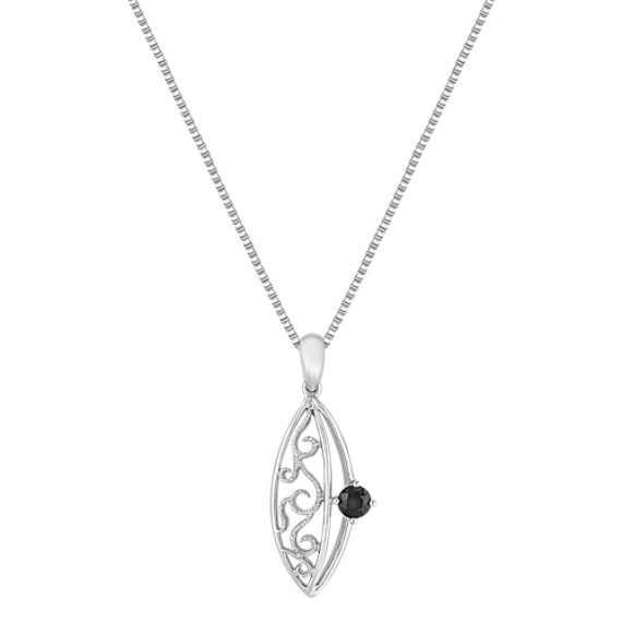 "Round Black Sapphire and Sterling Silver Pendant (18"")"