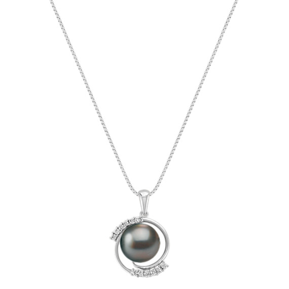 "Round Diamond and 10mm Cultured Tahitian Pearl Pendant (18"")"