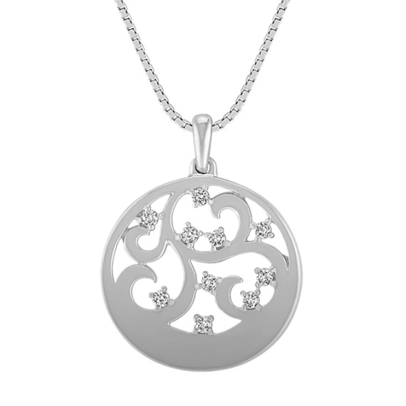 "Round Diamond and Sterling Silver Circle Pendant (18"")"