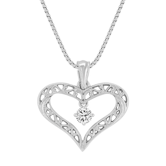 "Round Diamond and Sterling Silver Lattice Heart Pendant (18"")"