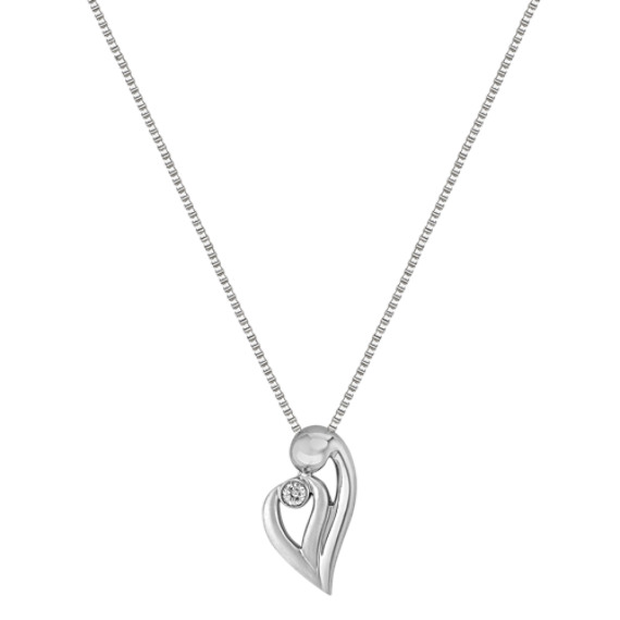 "Round Diamond and Sterling Silver Mother & Child Heart Pendant (18"")"