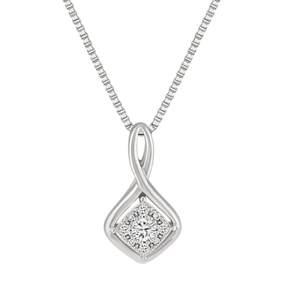 Round Diamond and Sterling Silver Pendant (18)