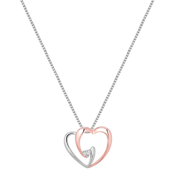 "Round Diamond and Sterling Silver Sweetheart Pendant (18"")"