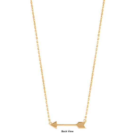 "Round Diamond Arrow Necklace in 14k Yellow Gold (16"")"