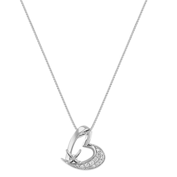Round Diamond Asymmetrical Heart Pendant (18)