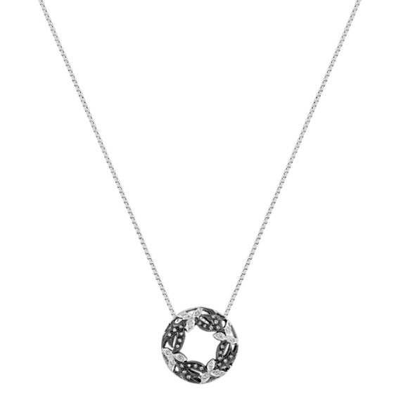 Round Diamond Circle Leaf Pendant with Black Rhodium (18)