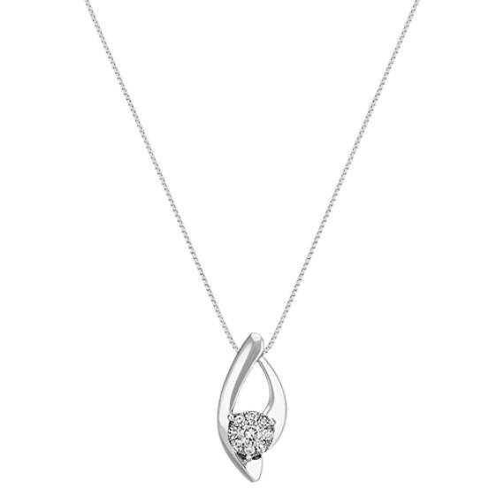 "Round Diamond Cluster Curved Pendant (18"")"