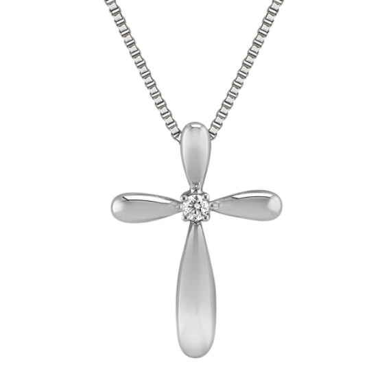 Round Diamond Cross Pendant in Sterling Silver (18)
