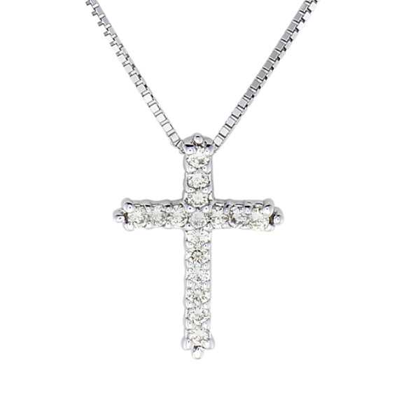 "Round Diamond Cross Pendant (18"")"