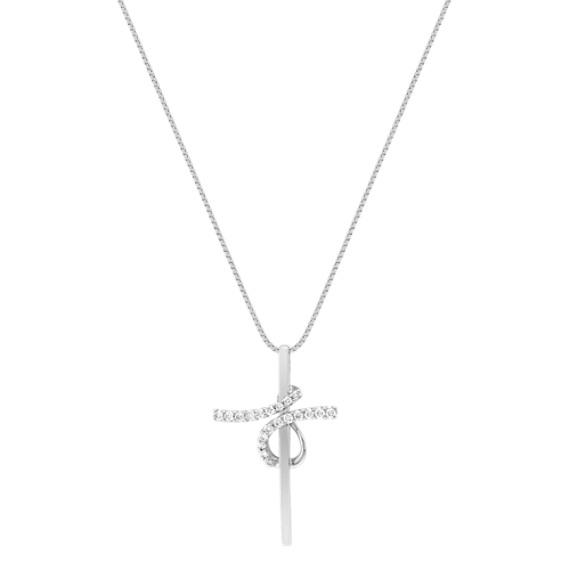 "Round Diamond Cross Pendant (18"")"