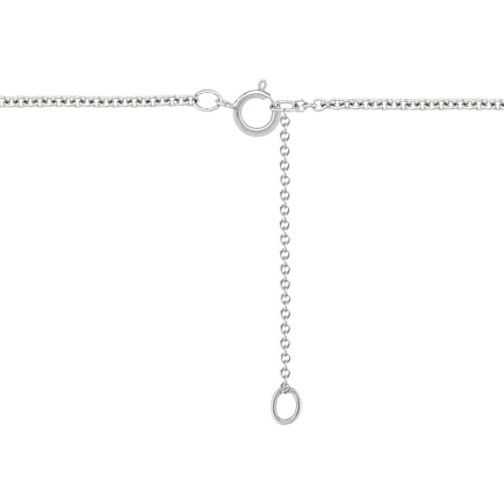 """Round Diamond Crossover Necklace in 14k White Gold (18"""")"""