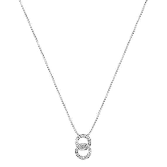 Round Diamond Double Circle Pendant in Sterling Silver (18)
