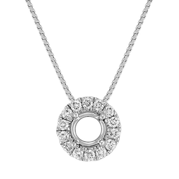 Round Diamond Halo Pendant with Pavé-Setting (18)