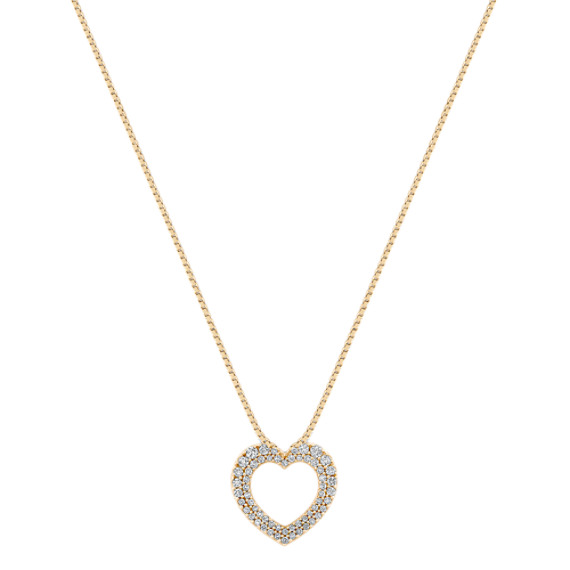 "Round Diamond Heart Pendant with Pavé Setting (18"")"