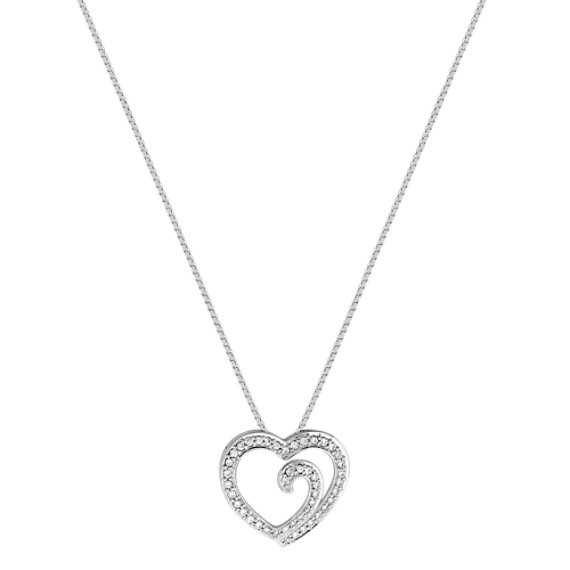 "Round Diamond Heart Pendant (18"")"