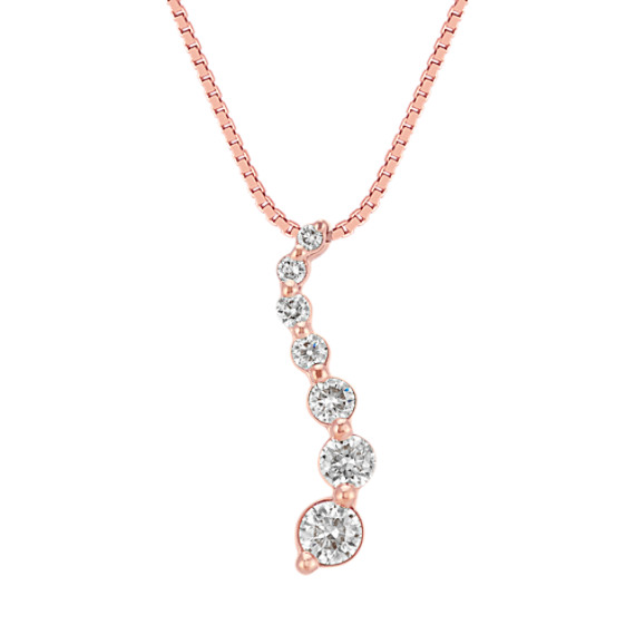 "Round Diamond Journey Pendant in 14k Rose Gold (18"")"