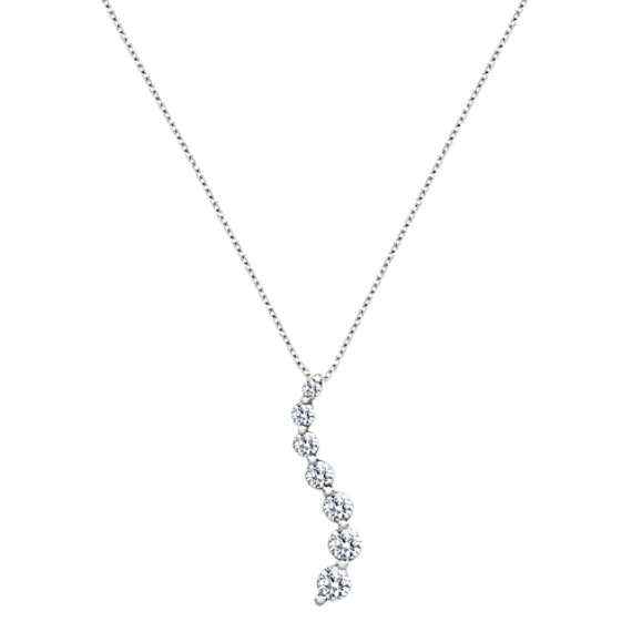 "Round Diamond Journey Pendant in 14k White Gold (18"")"