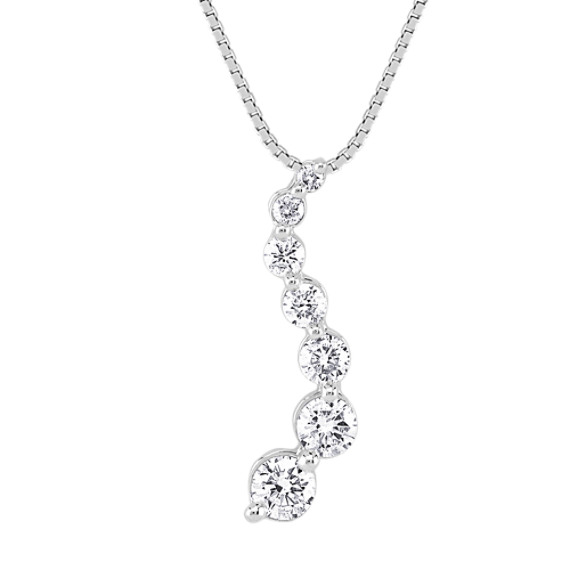 Round Diamond Journey Pendant in 14k White Gold (18)