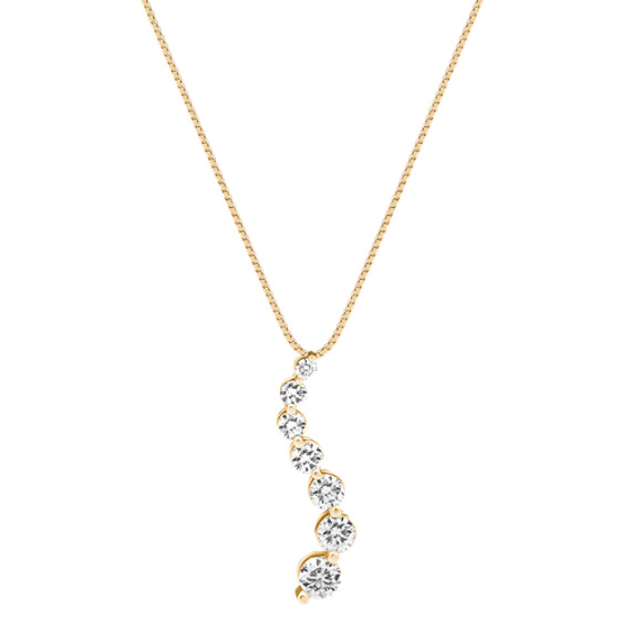 Round Diamond Journey Pendant in 14k Yellow Gold (18)