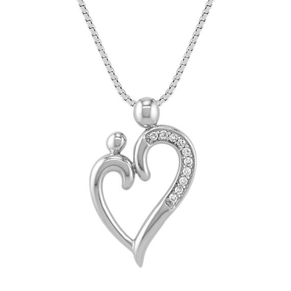 Round Diamond Mother & Child Heart Pendant (18)