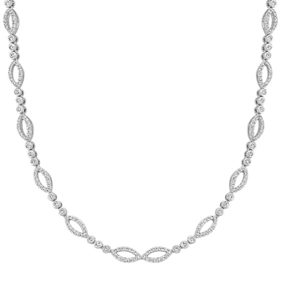 Round Diamond Necklace with Bezel and Pavé Setting (18 in.)