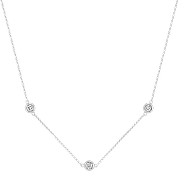 "Round Diamond Necklace with Bezel Setting (18"")"
