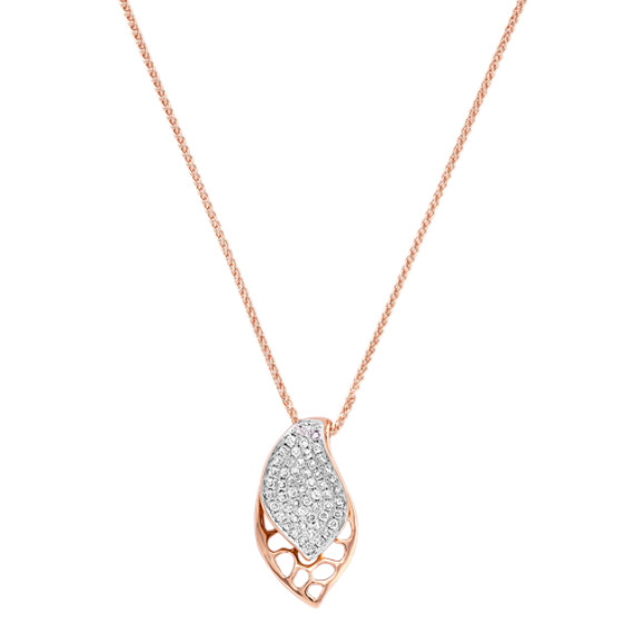 "Round Diamond Pendant in Rose Gold (18"")"