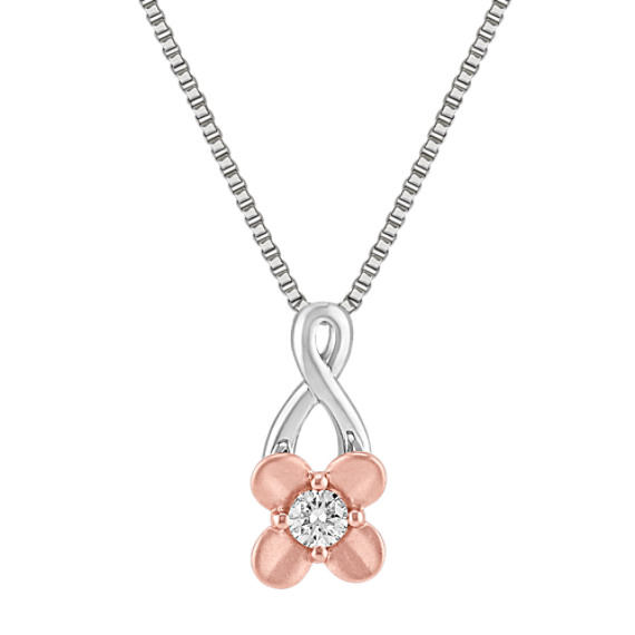 Round Diamond Pendant in Sterling Silver and 14k Rose Gold (18)