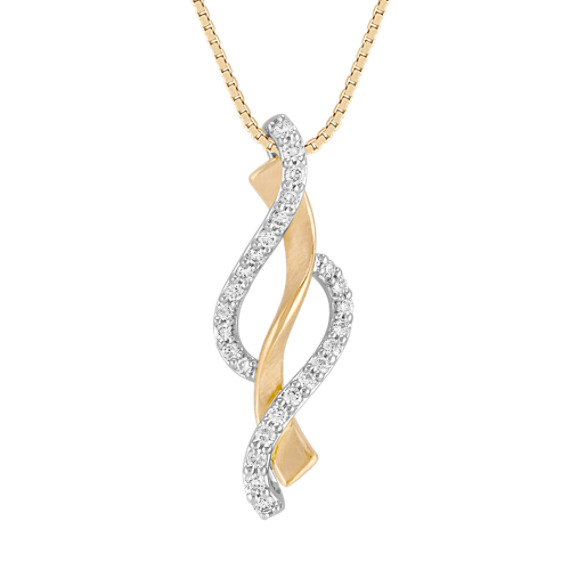 Round Diamond Pendant in Two-Tone Gold (18)