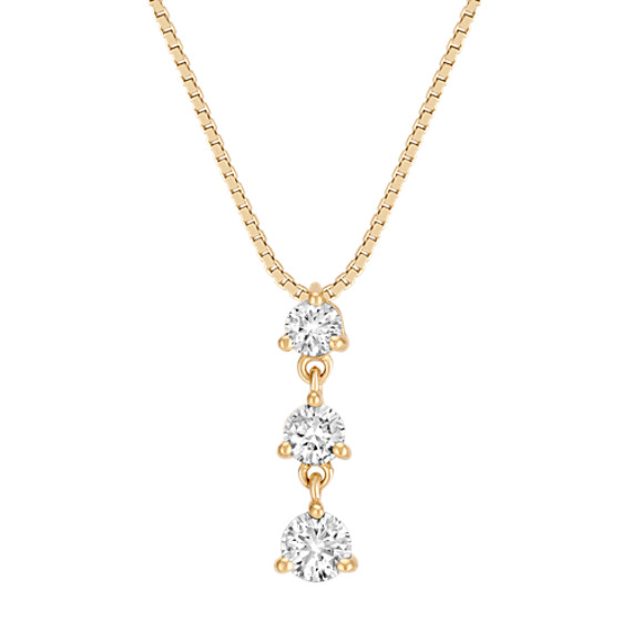 "Round Diamond Three-Stone Pendant in 14k Yellow Gold (18"")"