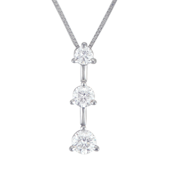 "Round Diamond Three-Stone Pendant (18"")"