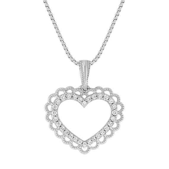 Round Diamond Vintage Heart Pendant (18)