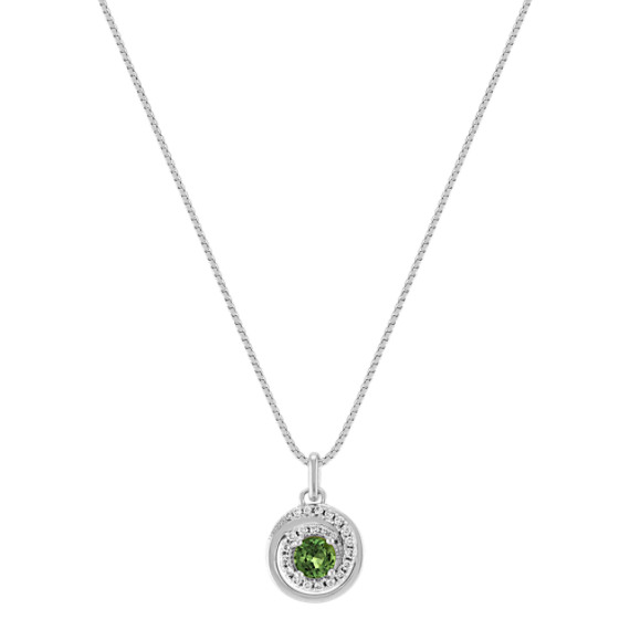 Round Green Sapphire and Diamond Circle Pendant (18)