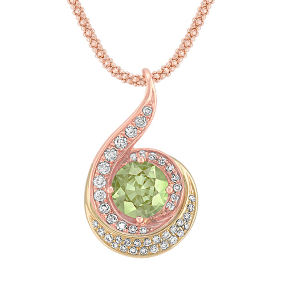 Round Green Sapphire and Diamond Pendant in 14k Rose and Yellow Gold (18)