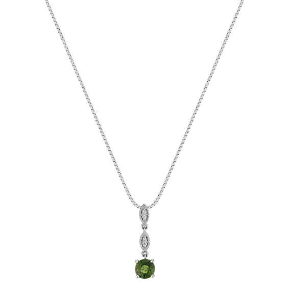 "Round Green Sapphire and Diamond Sectioned Pendant (18"")"
