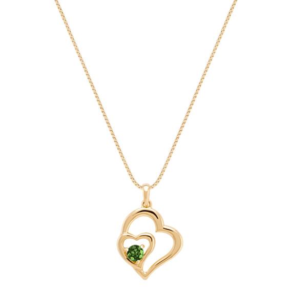 Round Green Sapphire Heart Pendant