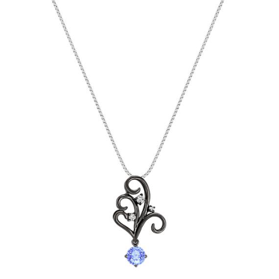 Round Ice Blue Sapphire and Diamond Pendant (18)