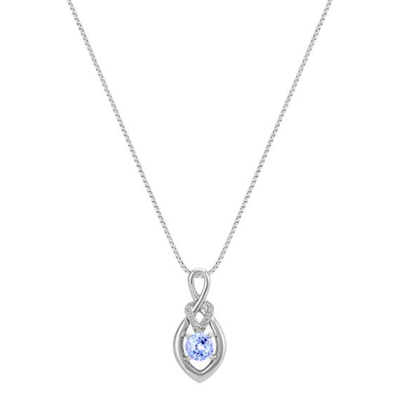 "Round Ice Blue Sapphire and Diamond Pendant (18"")"