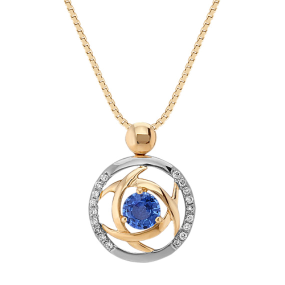 "Round Kentucky Blue Sapphire and Diamond Circle Pendant (18"")"