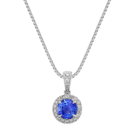 "Round Kentucky Blue Sapphire and Diamond Pendant (18"")"