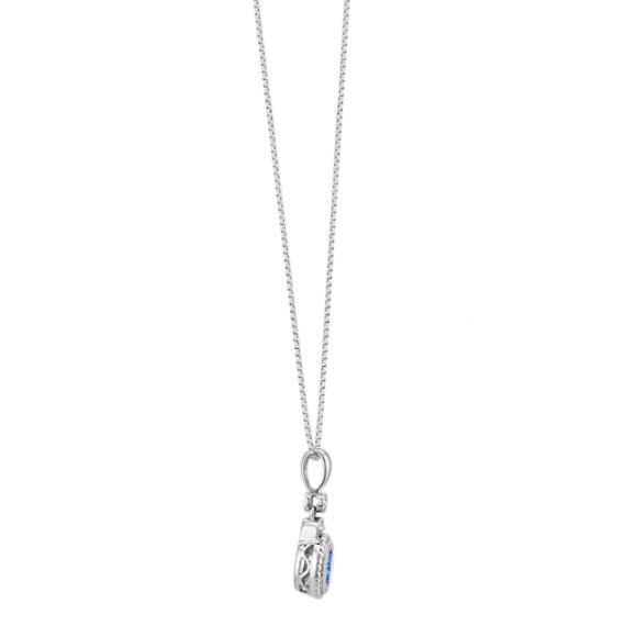 "Round Kentucky Blue Sapphire and Diamond Pendant (18"")"