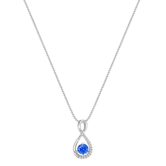 Round Kentucky Blue Sapphire and Diamond Swirled Infinity Pendant (18)